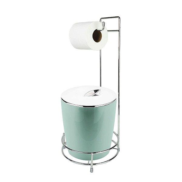 Kit Suporte Porta Papel Higiênico E Lixeira Com Tampa Cromada 5L Chão Banheiro Vitra - Ou - Verde Menta