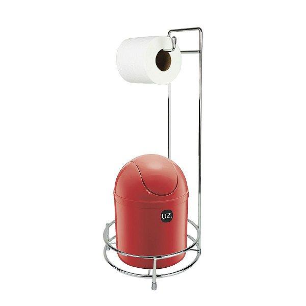 Kit Suporte Porta Papel Higiênico Com Lixeira Basculante 4L Cesto Lixo Chão Banheiro - Uz - Vermelho
