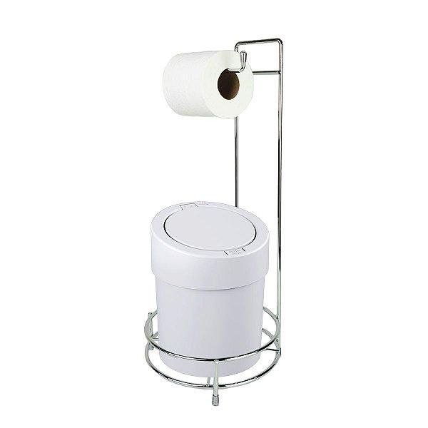 Kit Suporte Porta Papel Higiênico Com Lixeira Tampa Click 5L Banheiro Press - Coza - Branco