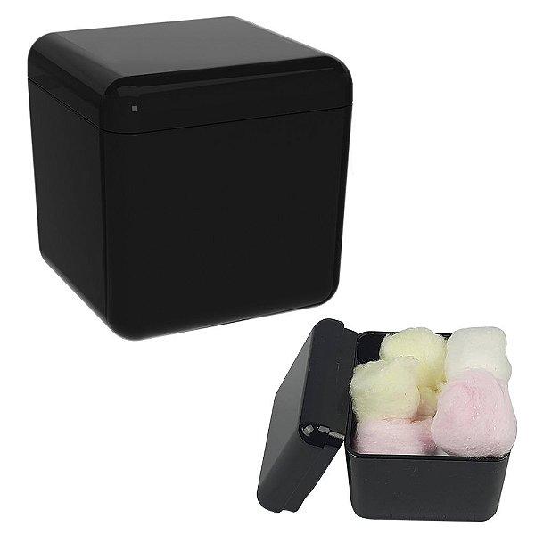Porta Algodão Cotonete Acessório Pia Organizador Banheiro Cube Preto -  20879/0008 Coza