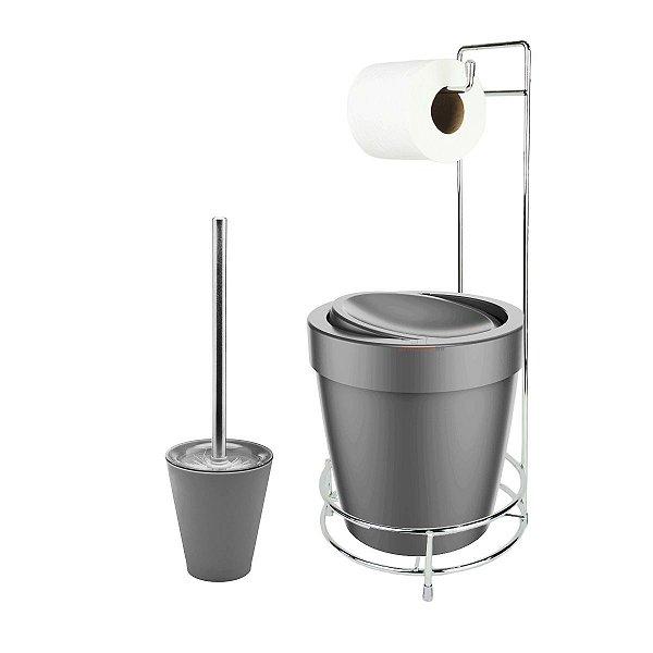 Kit Suporte Porta Papel Higiênico Escova Sanitária Lixeira Com Tampa Basculante 5L Vitra  - Ou - Chumbo