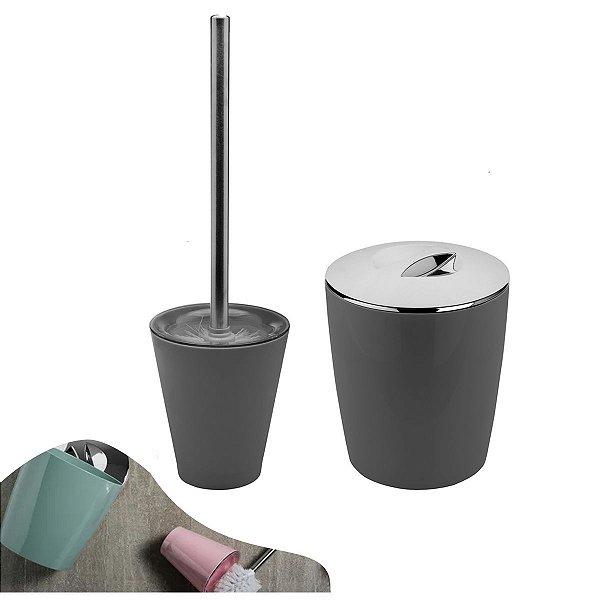 Conjunto Lixeira 5 Litros Vitra + Porta Escova Sanitária Banheiro Chumbo - KTE 009 Ou