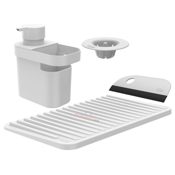 Kit Dispenser Detergente Escorredor Filtro Ralo Rodo Pia Cozinha Branco - Kte 055 Ou