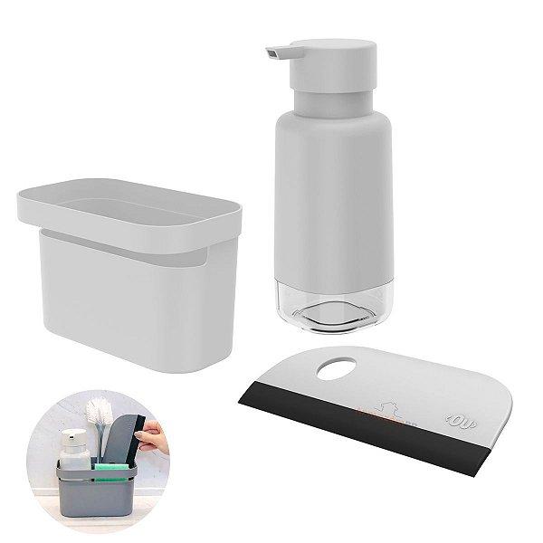 Kit Dispenser Porta Detergente Organizador Rodo Pia Cozinha Branco - Kte 056 Ou