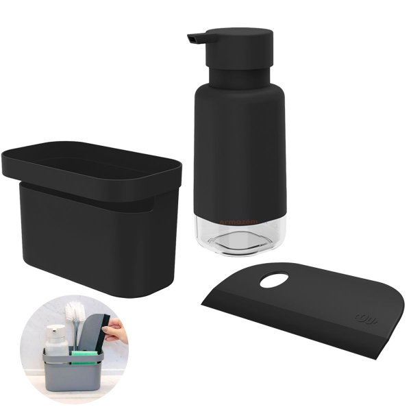Kit Dispenser Porta Detergente Organizador Rodo Pia Cozinha Preto - Kte 056 Ou