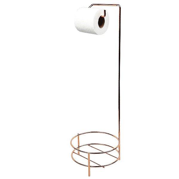 Porta Papel Higiênico E Suporte Aramado Para Lixeiras de Chão Banheiro Rose Gold - 3119RG AMZ