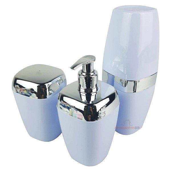 Conjunto Dispenser Sabonete + Suporte Escova Dente + Porta Algodão Banheiro Cromado Branco - AMZ