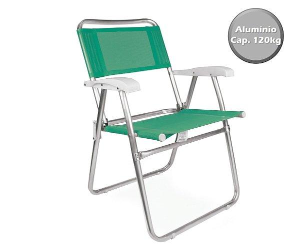 Cadeira Alumínio  Praia Camping Piscina Jardim Fashion - 2116 Mor - Verde