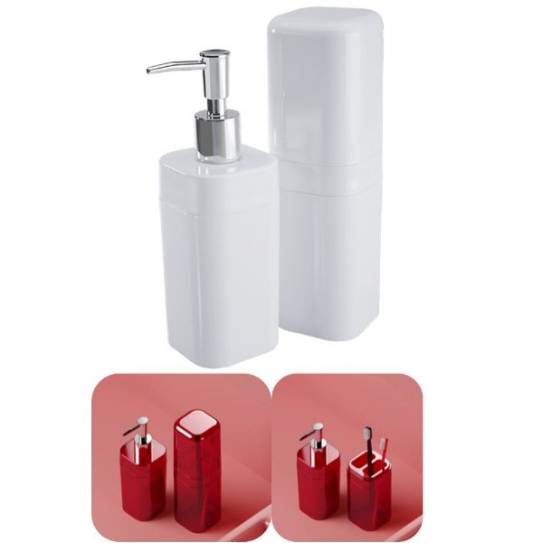 Conjunto Portas Escovas Tampa + Dispenser Sabonete Líquido Banheiro Splash - 99182 Coza - Branco