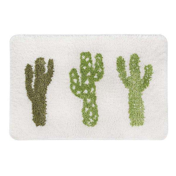 Tapete Banheiro 60x40cm Infantil Poliéster Antiderrapante - Mor - Cactus