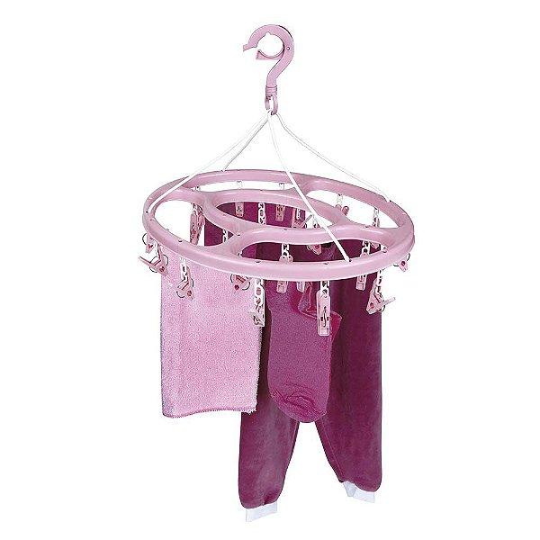 Mini Varal Oval Pendurar Roupas Íntimas Meias 24 Prendedores Plástico - 6094 Mor - Rosa