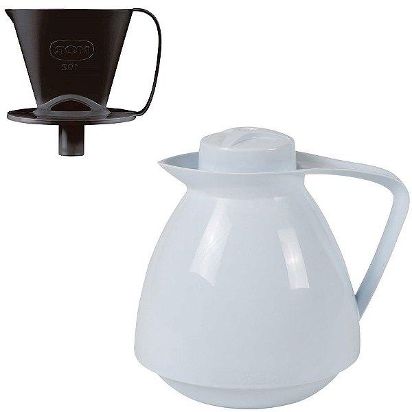 Kit Bule Térmico Amare 650ml + Suporte Coador Café 102 - Mor - Branco