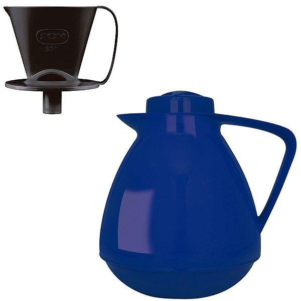 Kit Bule Térmico Amare 650ml + Suporte Coador Café 102 - Mor - Azul