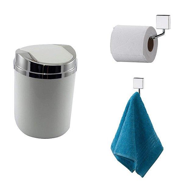 Kit 3 Peças Banheiro Lixeira + Papeleira + Cabide Toalha Cromado - Future - Branco