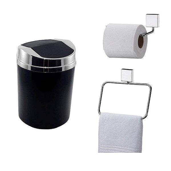 Kit 3 Peças Banheiro Lixeira + Papeleira + Toalheiro Argola Cromado - Future - Preto