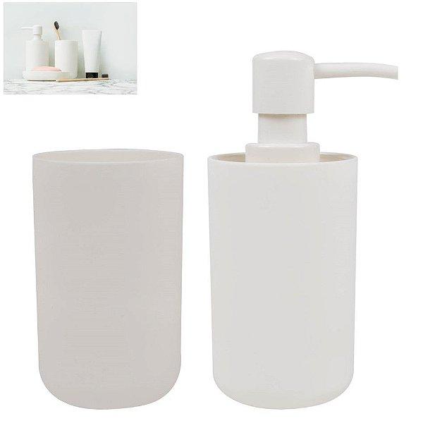 Kit Banheiro Dispenser Sabonete Líquido + Porta Escovas Pasta Pia - Mor - Branco