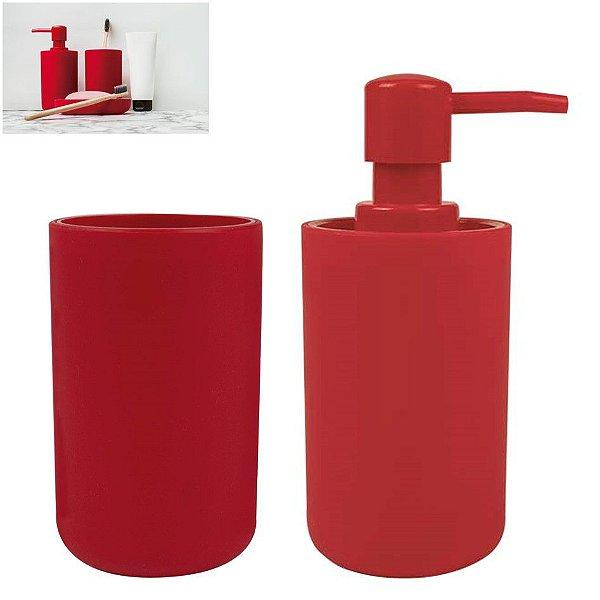 Kit Banheiro Dispenser Sabonete Líquido + Porta Escovas Pasta Pia - Mor - Vermelho