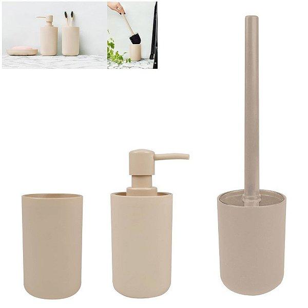 Kit Banheiro Dispenser Sabonete + Porta Escovas Pasta + Suporte Escova Sanitária - Mor - Bege