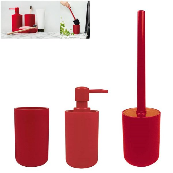 Kit Banheiro Dispenser Sabonete + Porta Escovas Pasta + Suporte Escova Sanitária - Mor - Vermelho
