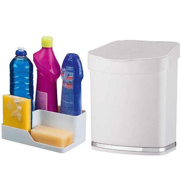 Kit Cozinha Porta Detergente Esponja Sabão + Lixeira 2,5 Litros Pia - Future - Branco