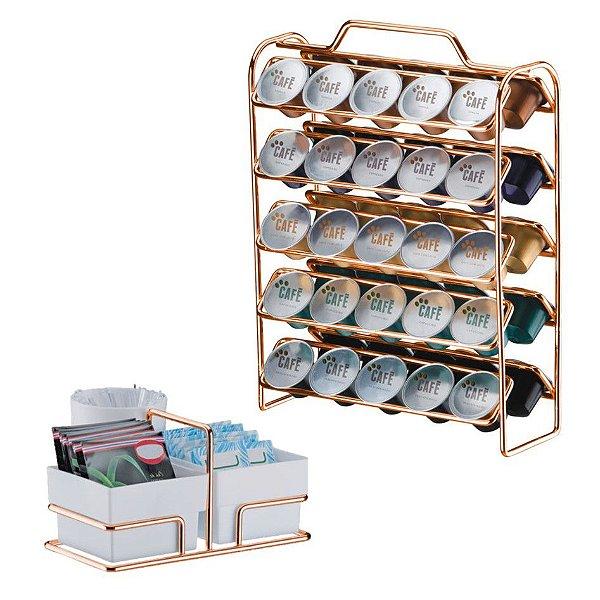 Kit Suporte 50 Cápsulas Nespresso +  Porta Sachês - 1147RG Rose Gold Future - Branco