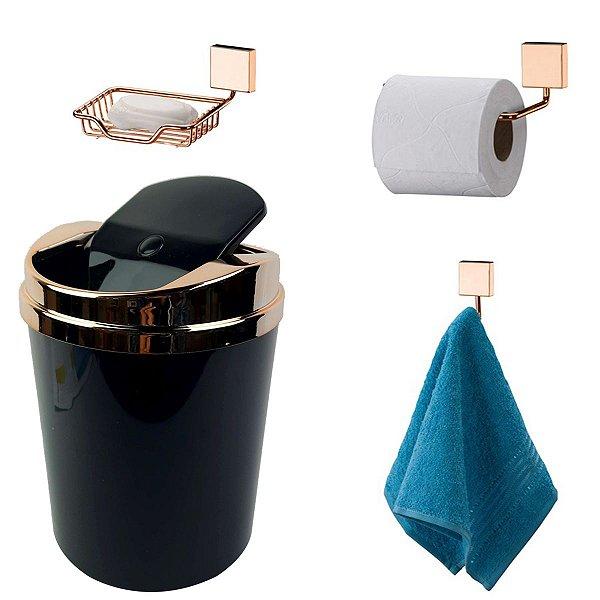 Kit 4 Peças Banheiro Lixeira + Papeleira + Cabide Toalha + Saboneteira Rosé Gold - Future - Preto