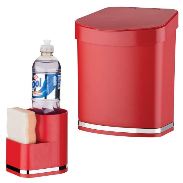 Kit Suporte Detergente e Esponja + Lixeira Eleganza - 1253 Future - Vermelho