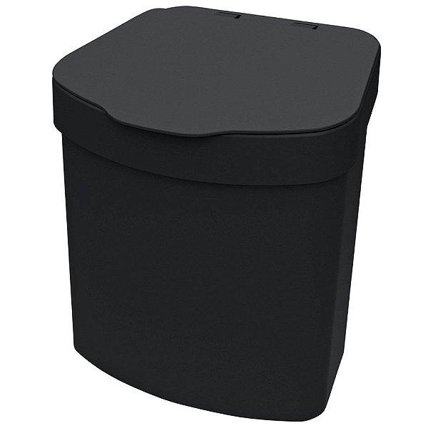 Lixeira 2,5 L Porta Lixo Para Pia Bancada Cozinha Tampa - 1110 Future - Preto