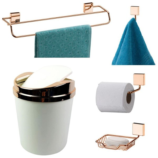 Kit 5 Peças Banheiro Lixeira + Papeleira + Toalheiro Duplo + Cabide + Saboneteira Rosé Gold - Future - Branco