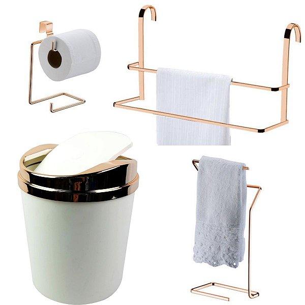 Kit 4 Peças Banheiro Lixeira + Papeleira + Toalheiro Duplo Box e Bancada Rosé Gold - Future - Branco