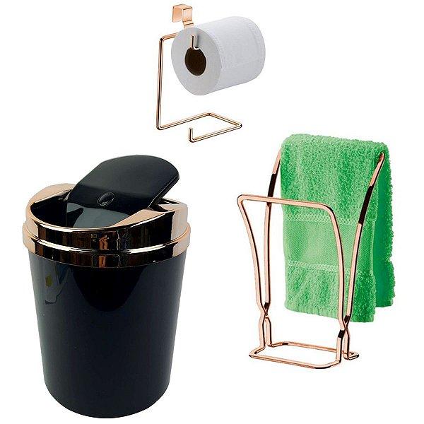 Kit Banheiro Porta Toalha + Suporte Papel Higiênico + Lixeira Rose Gold - Future - Preto