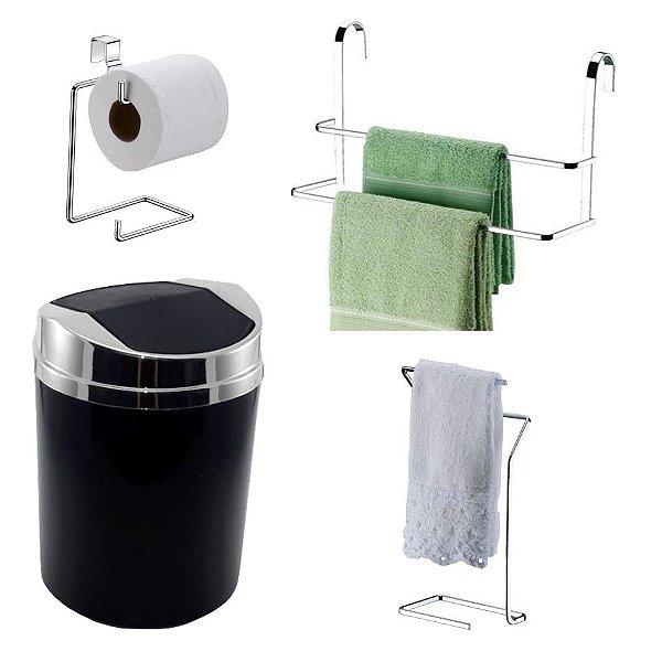 Kit 4 Peças Banheiro Lixeira + Papeleira + Toalheiro Duplo Box e Bancada Cromado - Future - Preto