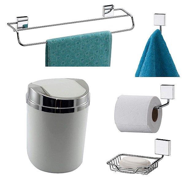 Kit 5 Peças Banheiro Lixeira + Papeleira + Toalheiro Duplo + Cabide + Saboneteira Cromado - Future - Branco
