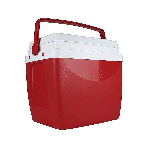 Caixa Térmica Cooler 26 Litros Alça Copos Praia Bebidas Alimentos - Mor - Vermelho