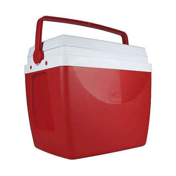 Caixa Térmica Cooler 34 L Com Alça Porta Copos Bebidas Alimentos - Mor - Vermelho