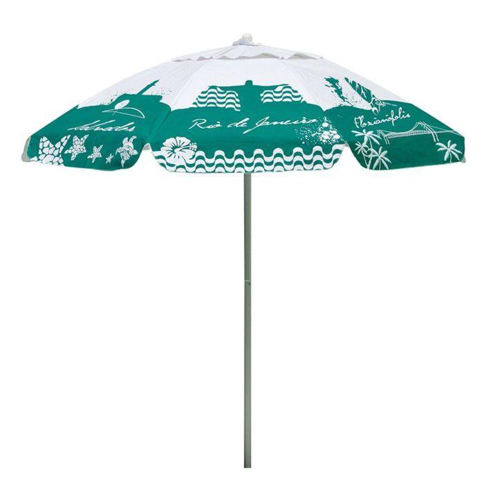 Guarda Sol Bagum 1,80 M Alumínio Praia Piscina Camping Listras Fashion - 3743 Mor - Verde