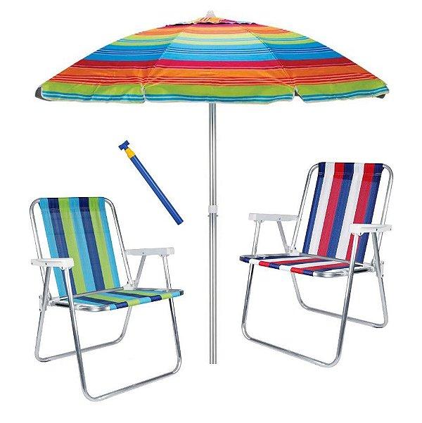 Kit 2 Cadeira Alta Alumínio + Guarda Sol 2,4 metros + Saca Areia - Mor - Laranja Listrado