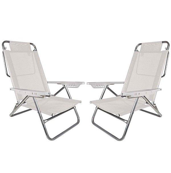 Kit 2 Cadeiras Summer Reclinável 6 pos Alumínio Praia Piscina Camping - Mor - Branco