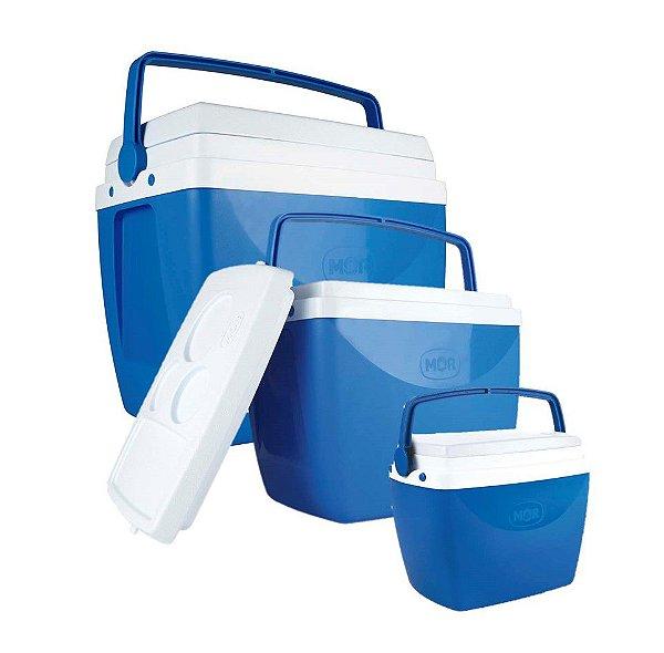 Kit 3 Caixa Térmica Cooler Combo 34 + 18 + 6 Litros - Mor - Azul