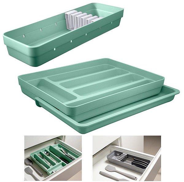 Kit Organizador Gavetas Talheres C/ Extensor Porta Talher Facas Cozinha Logic - Ou - Verde Menta