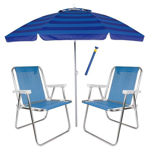 Kit Praia 2 Cadeira Alta Sannet Alumínio + Guarda Sol 2,4m Alum + Saca Areia Pressão - Mor - Azul