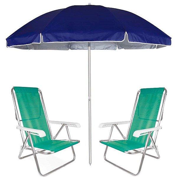 Kit Praia 2 Cadeira Reclinável 8 Pos Sannet Alumínio + Guarda Sol 2,6m Azul - Mor - Verde