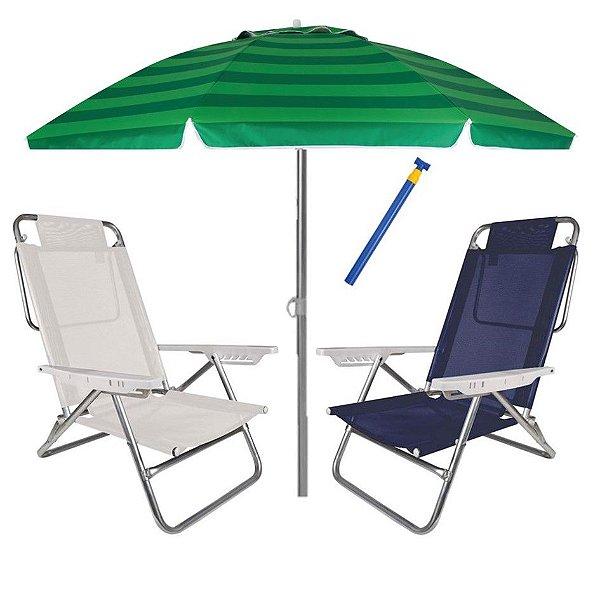 Kit Praia 2 Cadeira Summer Reclinável 6 Pos + Guarda Sol 2,4m + Saca Areia - Mor - Azul Florido