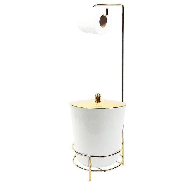 Suporte Porta Papel Higiênico lixeira Branca 5 Litros Com Tampa Dourada Cesto Lixo Banheiro - AMZ