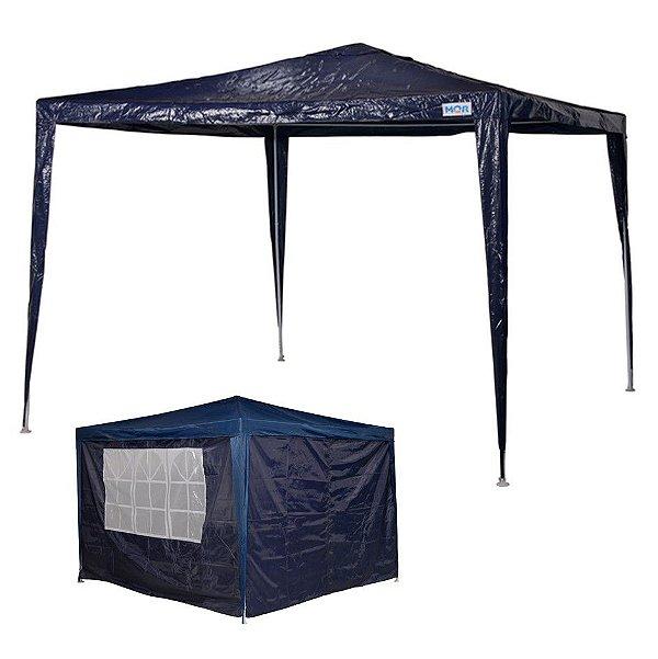 kit Tenda Gazebo Rafia Azul 3x3 m + Conjunto 4 Paredes Oxford - Mor