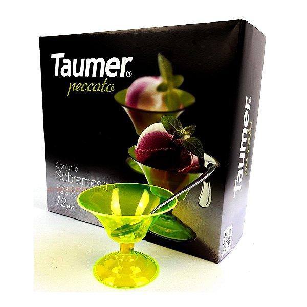 Conjunto Jogo 12 Peças Taças Colher Sobremesa Sorvete Creme Cozinha - Taumer - Verde Neon