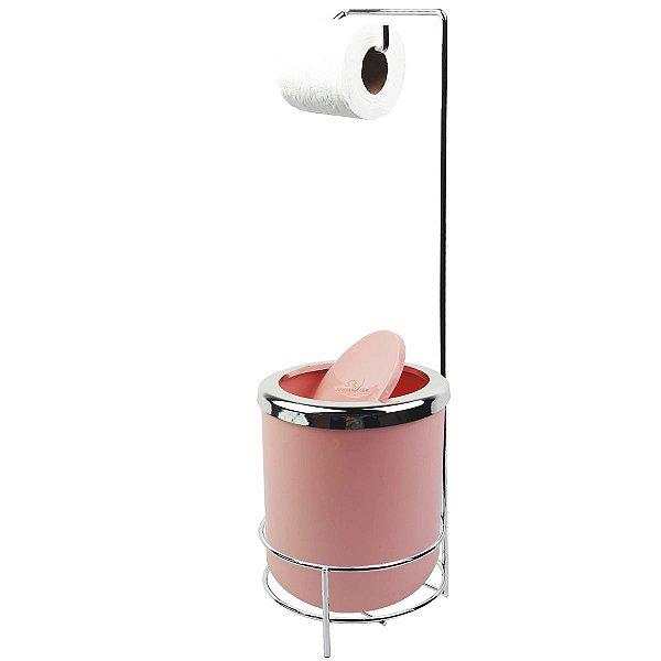 Suporte Porta Papel Higiênico lixeira Rosa 5L Com Tampa Basculante Redonda Cromada Banheiro - AMZ
