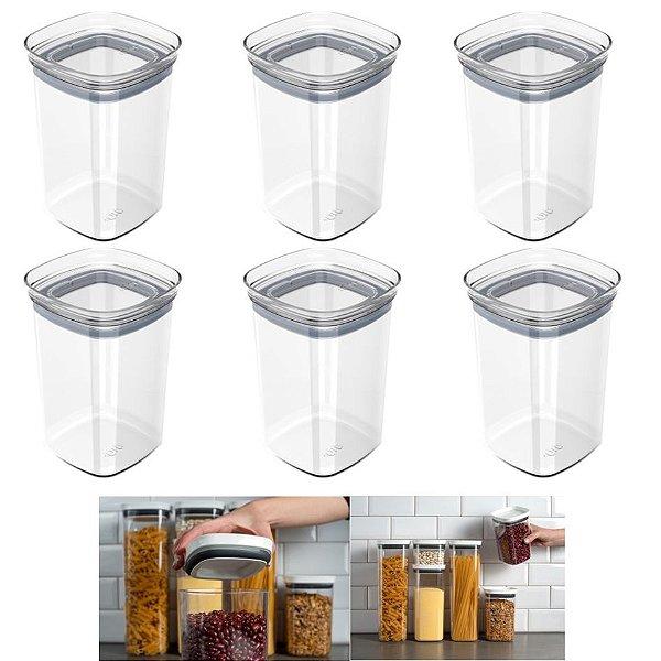 Kit 6 Pote Tampa Hermético 1l Organizador Alimento Mantimento Armário Cozinha Block - Ou - Natural