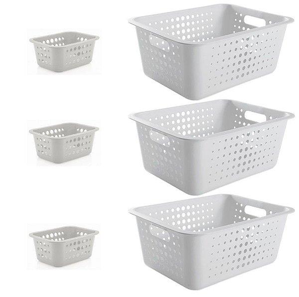 Kit 6 Cestos Caixas Organizadoras 14,5L e 1,5L Lavanderia Organizador Casa Multiuso - Ou - Branco