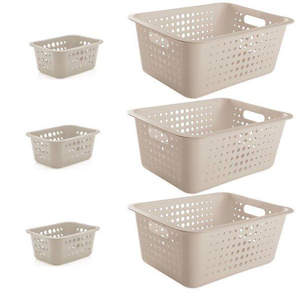 Kit 6 Cestos Caixas Organizadoras 14,5L e 1,5L Lavanderia Organizador Casa Multiuso - Ou - Bege